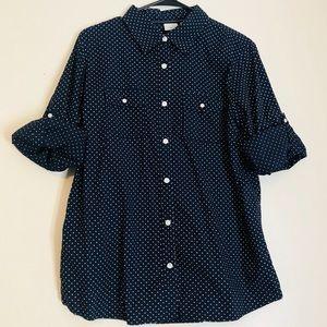 L.L. Bean Navy Polka Dot Button Down Shirt